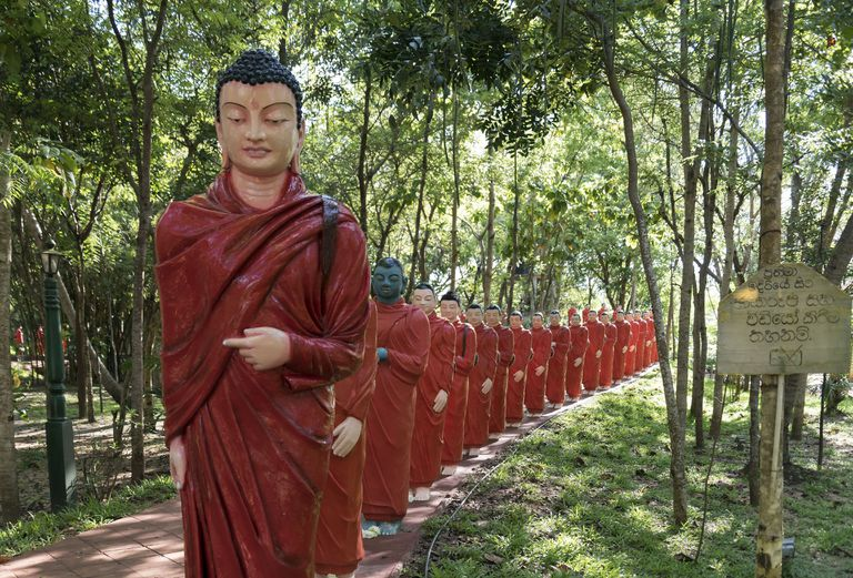 Statues of Monks Walking Behind Buddha, Temple of 500 Arhats, Sri Lanka