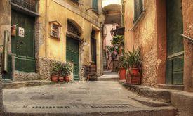 Old street in Vernazza, Italy.