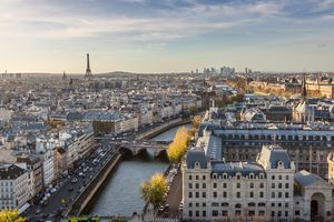 Aerial view of Paris city with Eiffel tower