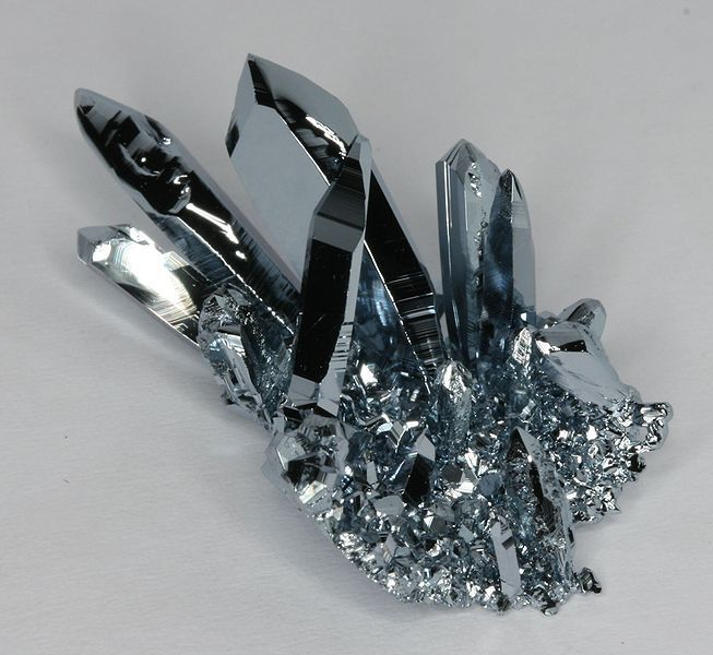 This cluster of osmium crystals was grown using chemical vapor transport.