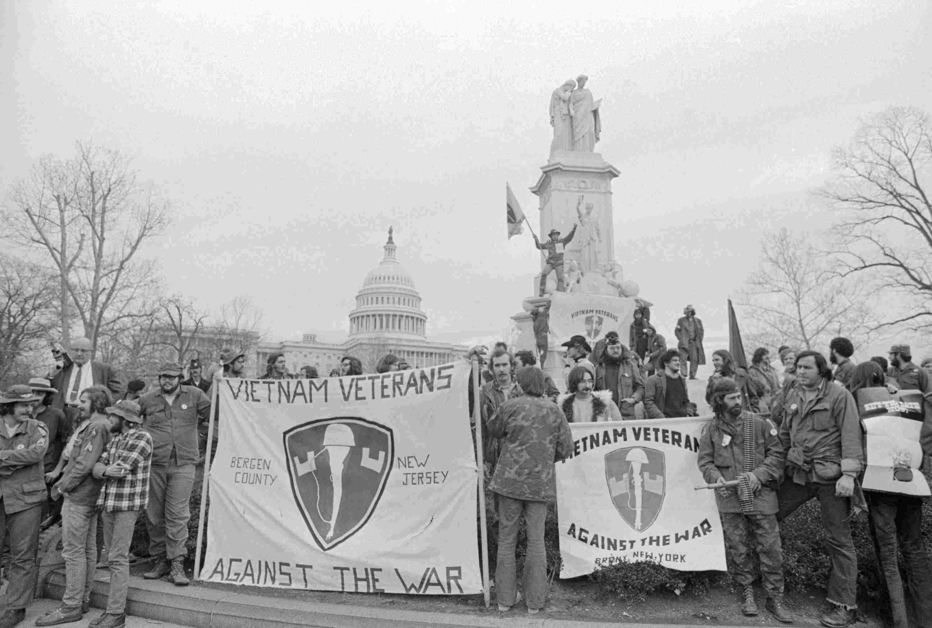 Photograph of protest by Vietnam Veterans Against the War