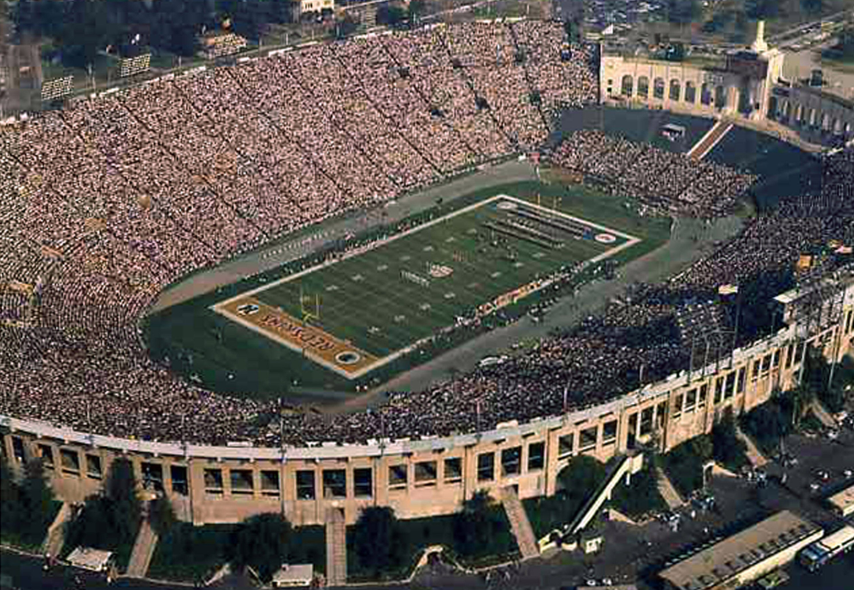 Aerial photo of open air Los Angeles Coliseum, California, site of 1973  Super Bowl
