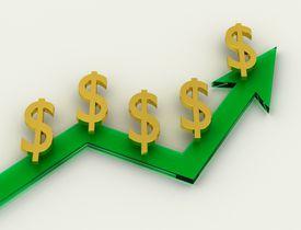 A graph illustrating compound interest