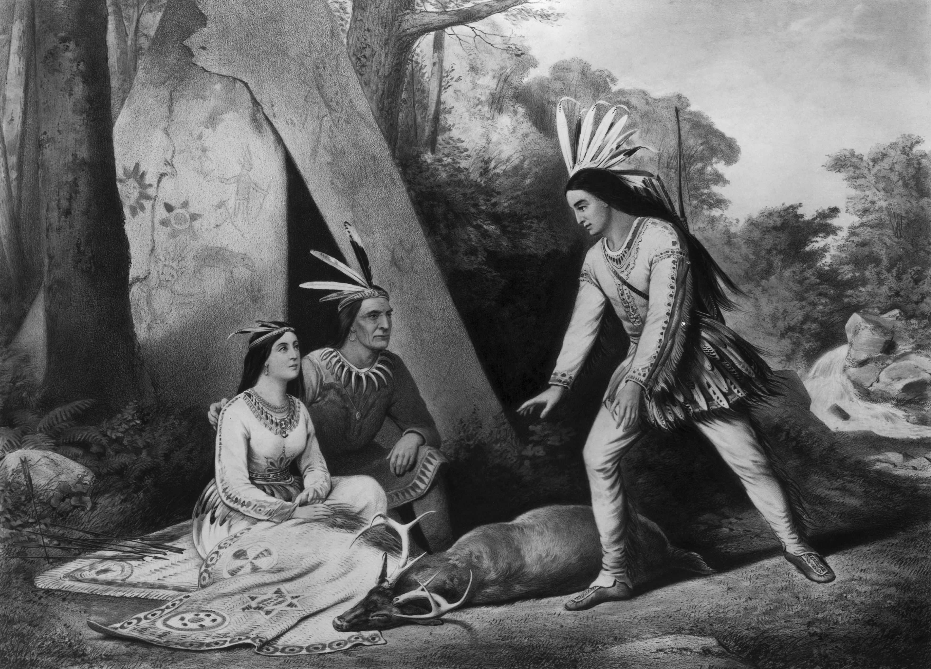 Wooing of Hiawatha - Currier and Ives based on Longfellow