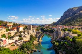 Old Bridge Area of the Old City of Mostar in Bosnia and Herzegovina.