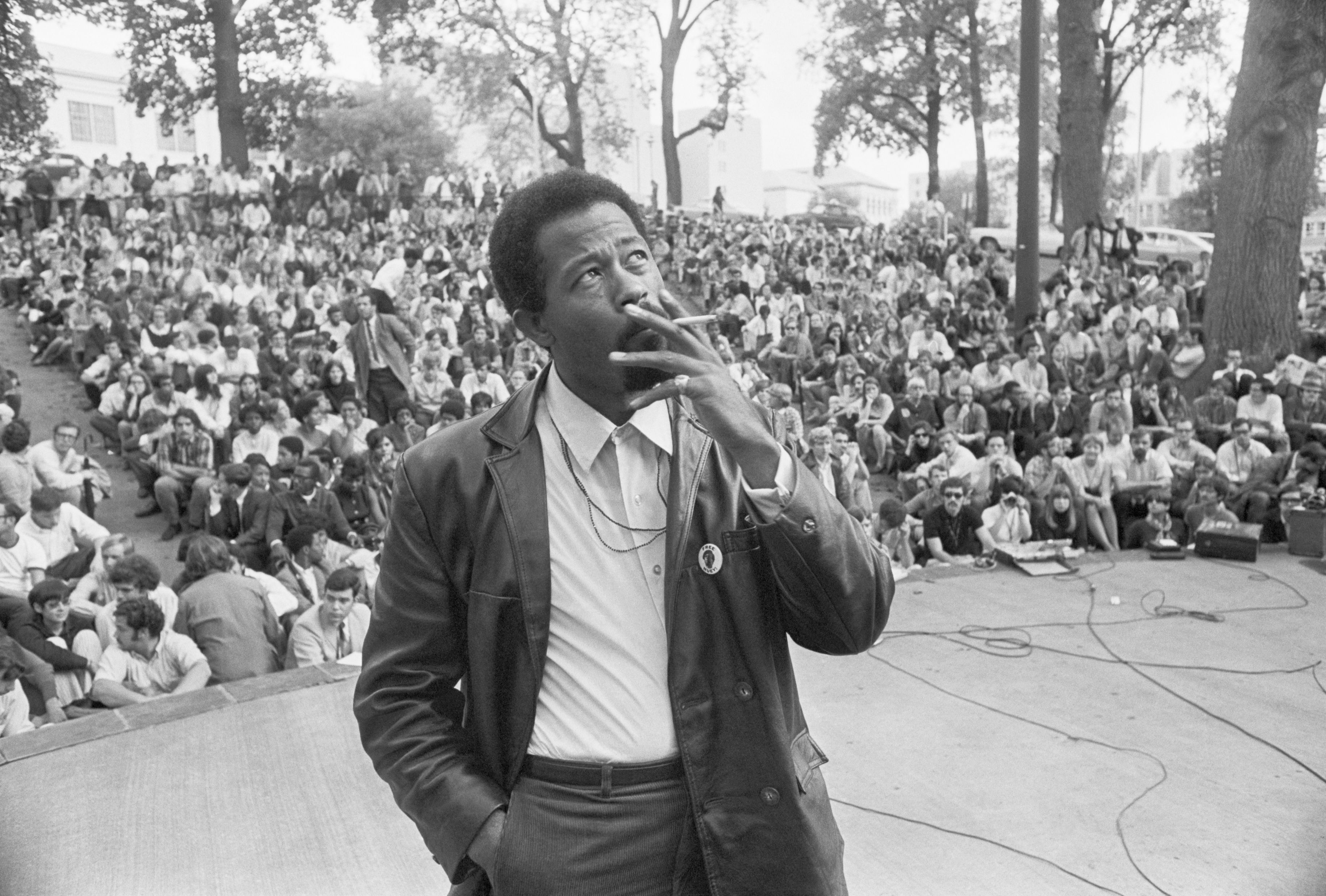 Eldridge Cleaver with Back to Student Crowd