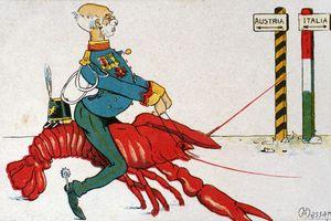 Old cartoon of military man in uniform riding a shrimp.