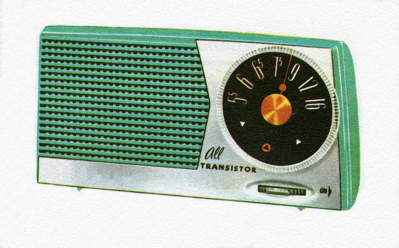 Vintage illustration of a 1950s portable transistor radio