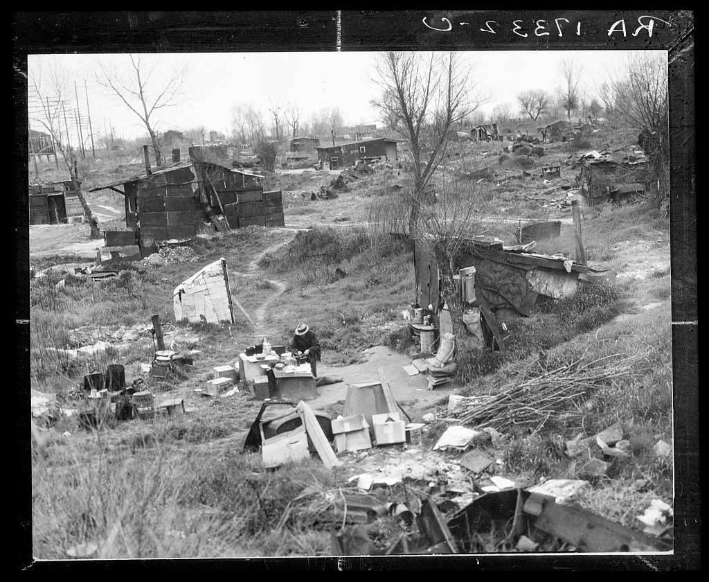A view of a migrant worker's camp, also known as a Hooverville during the Great Depression.