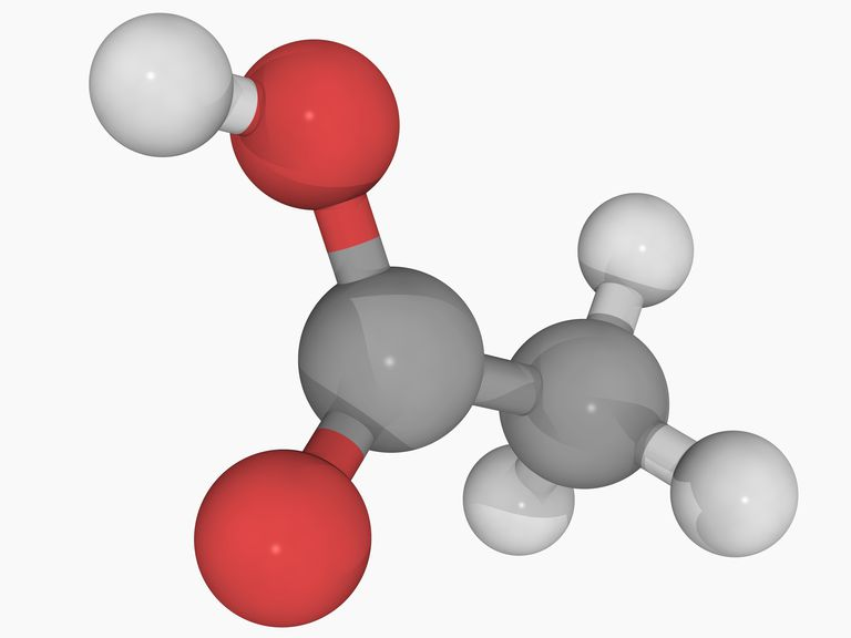 3D illustration of the chemical structure of acetic acid.