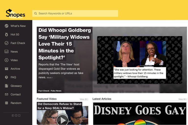 Screenshot from Snopes.com