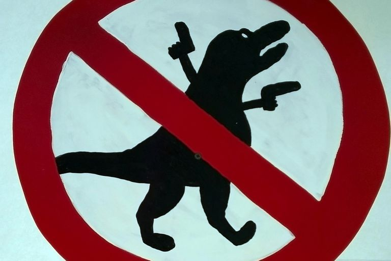 A red circle with a line through a drawing of a dinosaur with handguns