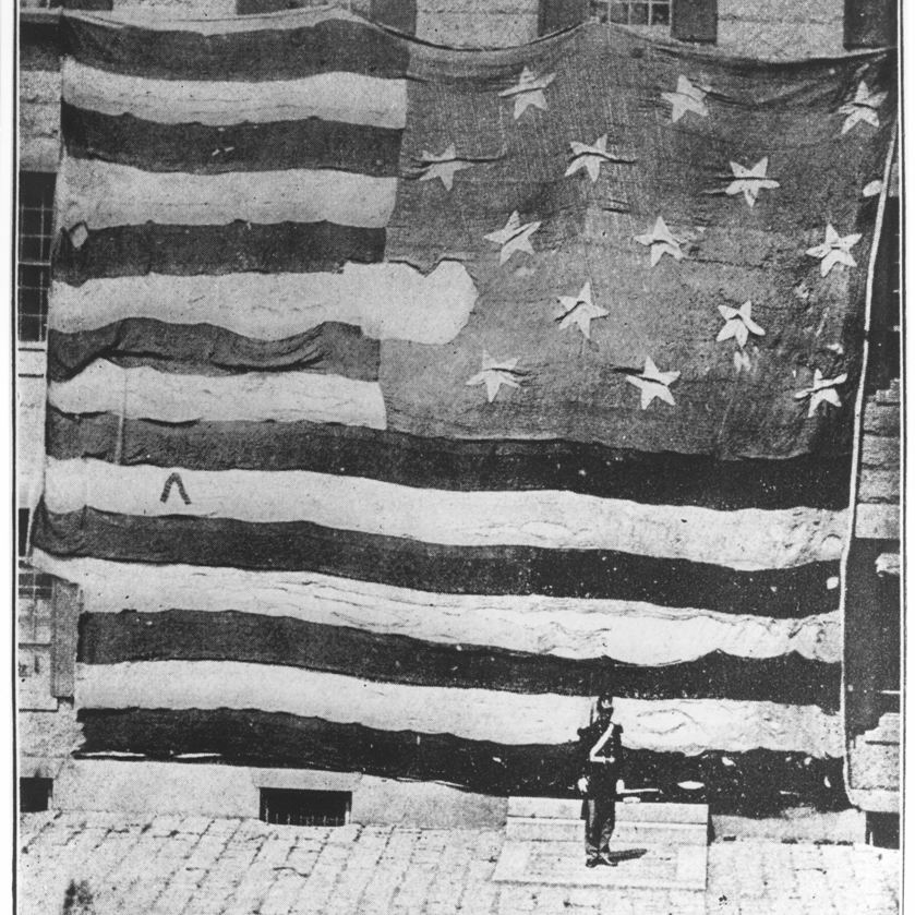 First known photograph of the Fort McHenry flag, displayed in Boston in 1873.