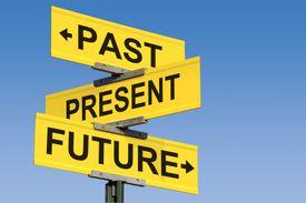 road sign: past, present, future