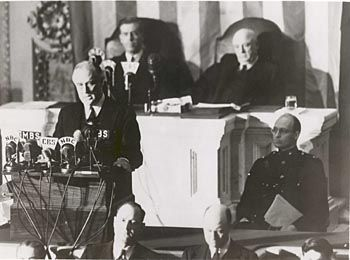 Picture of President Franklin Roosevelt delivering his Day of Infamy speech.