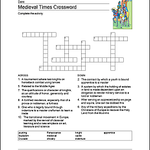 medieval times printable crossword