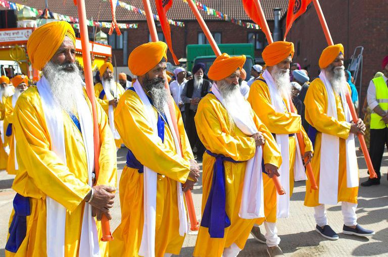 Panj Pyare, leading a procession at Wolverhampton.