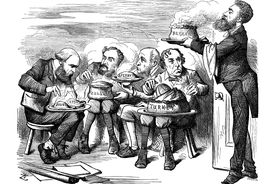 Political cartoon depicting imperialism as a group of men eating cakes with the names of countries on them