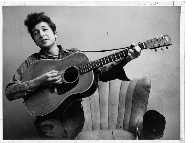 Bob Dylan Portrait With Acoustic Guitar