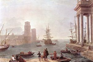 Painting depicting the departure of Odysseus from the land of the Phaeacians.