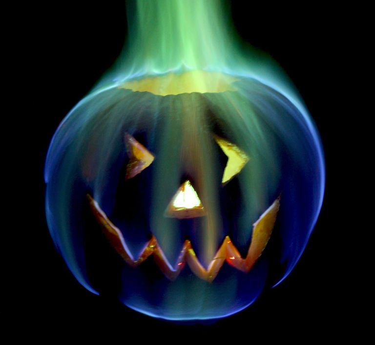 Halloween jack-o'-lantern, featuring rainbow fire