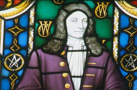 Christopher Wren's image in stained glass.
