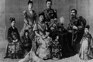 The Meiji Emperor and his family, circa 1880, featuring adults in western-style clothes