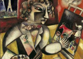 An artist with a cubist face stands at his easel and works on a painting of a milkmaid with a cow.