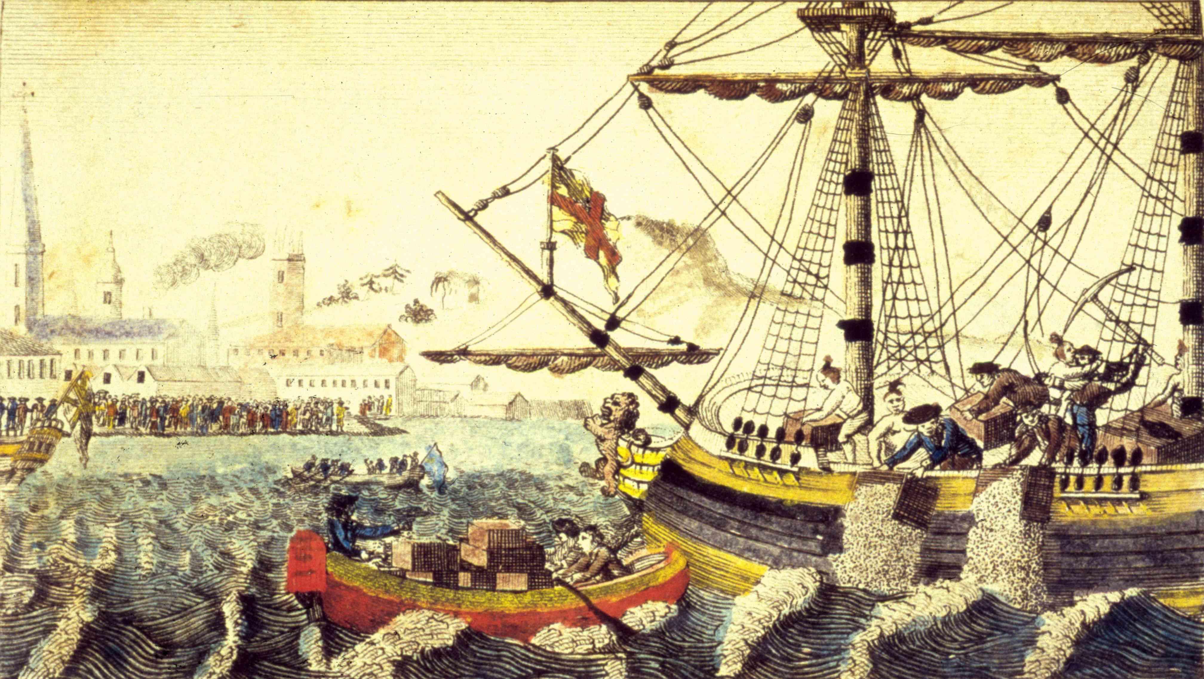 Artist's rendering of the Boston Tea Party, Boston, Massachusetts, December 16, 1773.