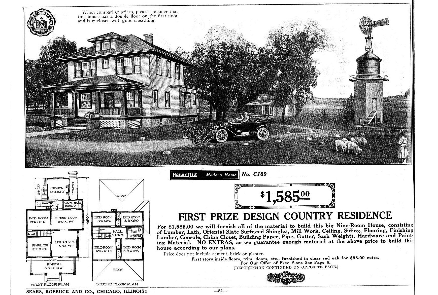 black and white illustration and floor polan of First Prize Design Country Residence from Sears, Roebuck and Co.
