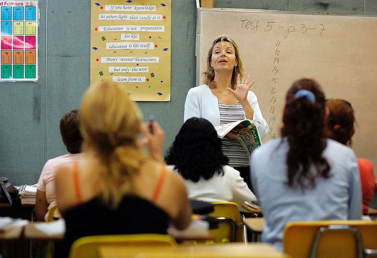 ESL teacher in classroom with students