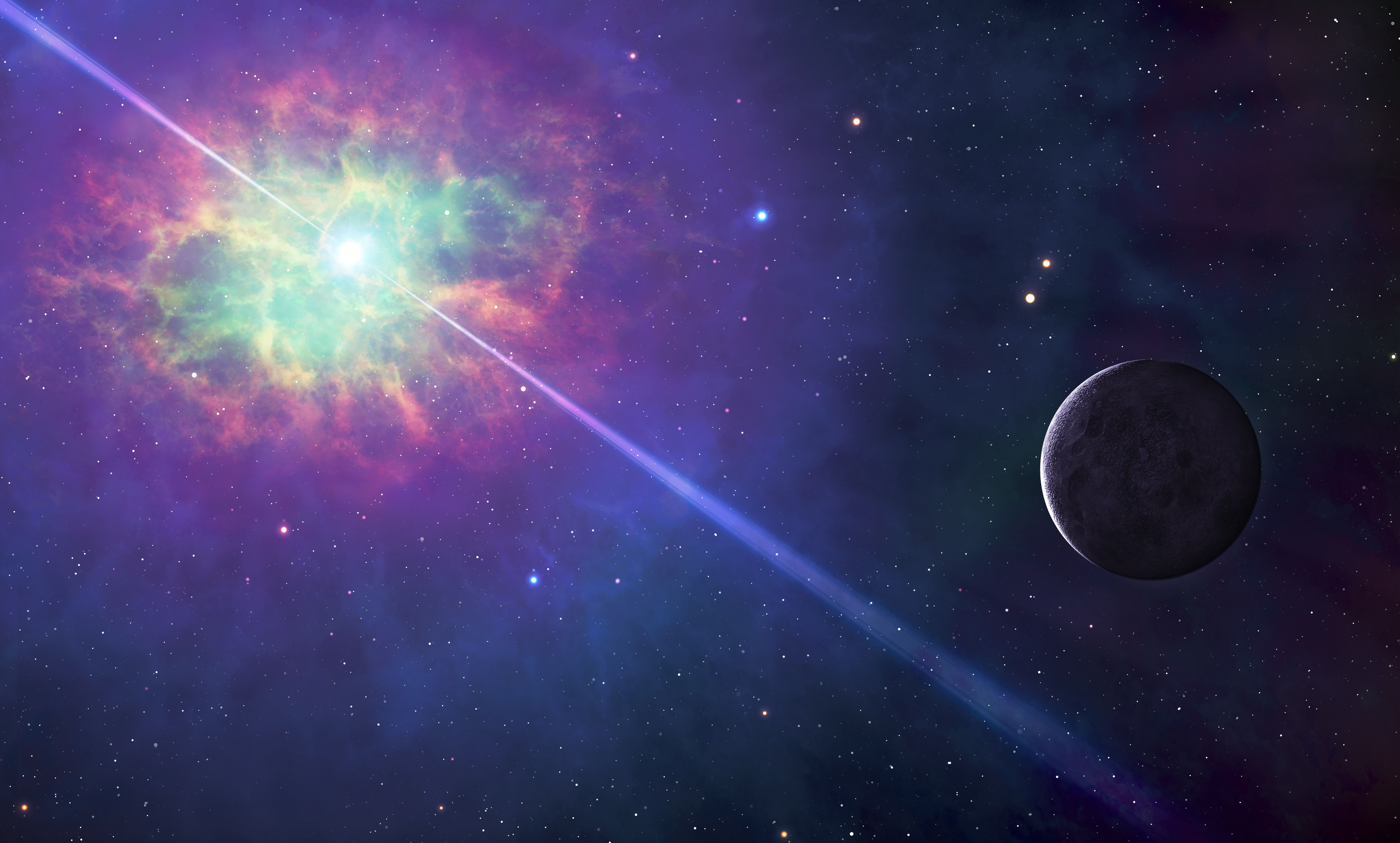 Image of space, with a colorful cloud surrounding a star that projects beams of light in two directions, with a planet illuminated nearby.