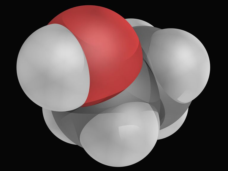Close up 3D rendering of ethanol molecule.