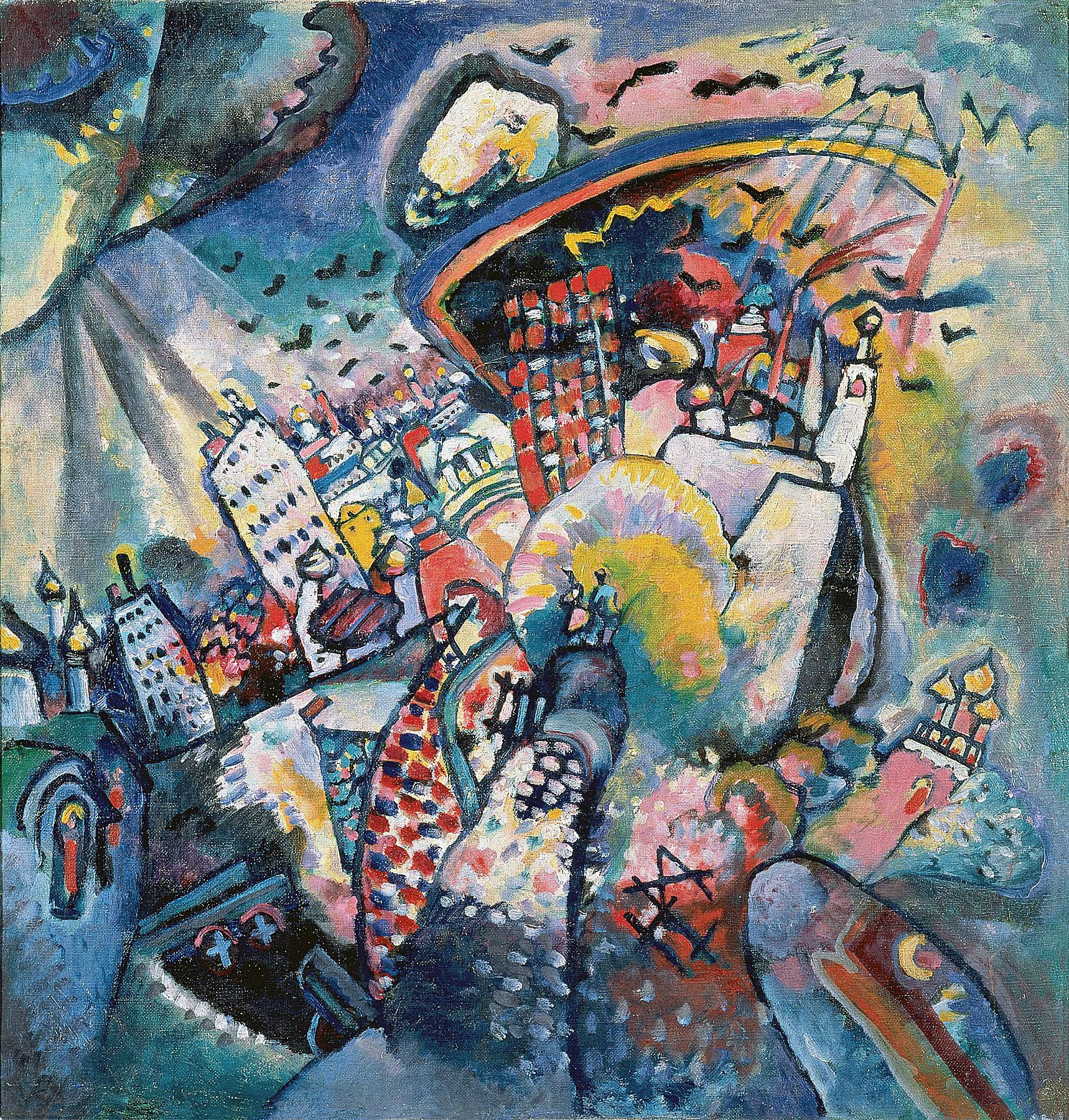 Wassily Kandinsky (Russian, 1866-1944) Wassily Kandinsky (Russian, 1866-1944). Moscow I (Moskau I), 1916. Oil on canvas. 20 1/4 x 19 7/16 in. (51.5 x 49.5 cm). The State Tretyakov Gallery, Moscow.