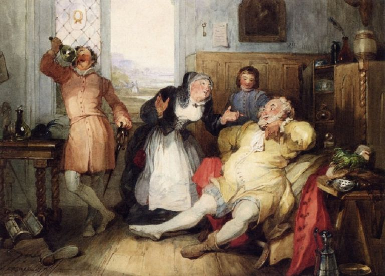 Color painting showing Mistress Quickly with other Shakespearean characters.