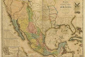 Mexico-USA map, circa 1845
