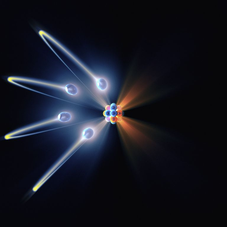 Depiction of electrons floating around an atom