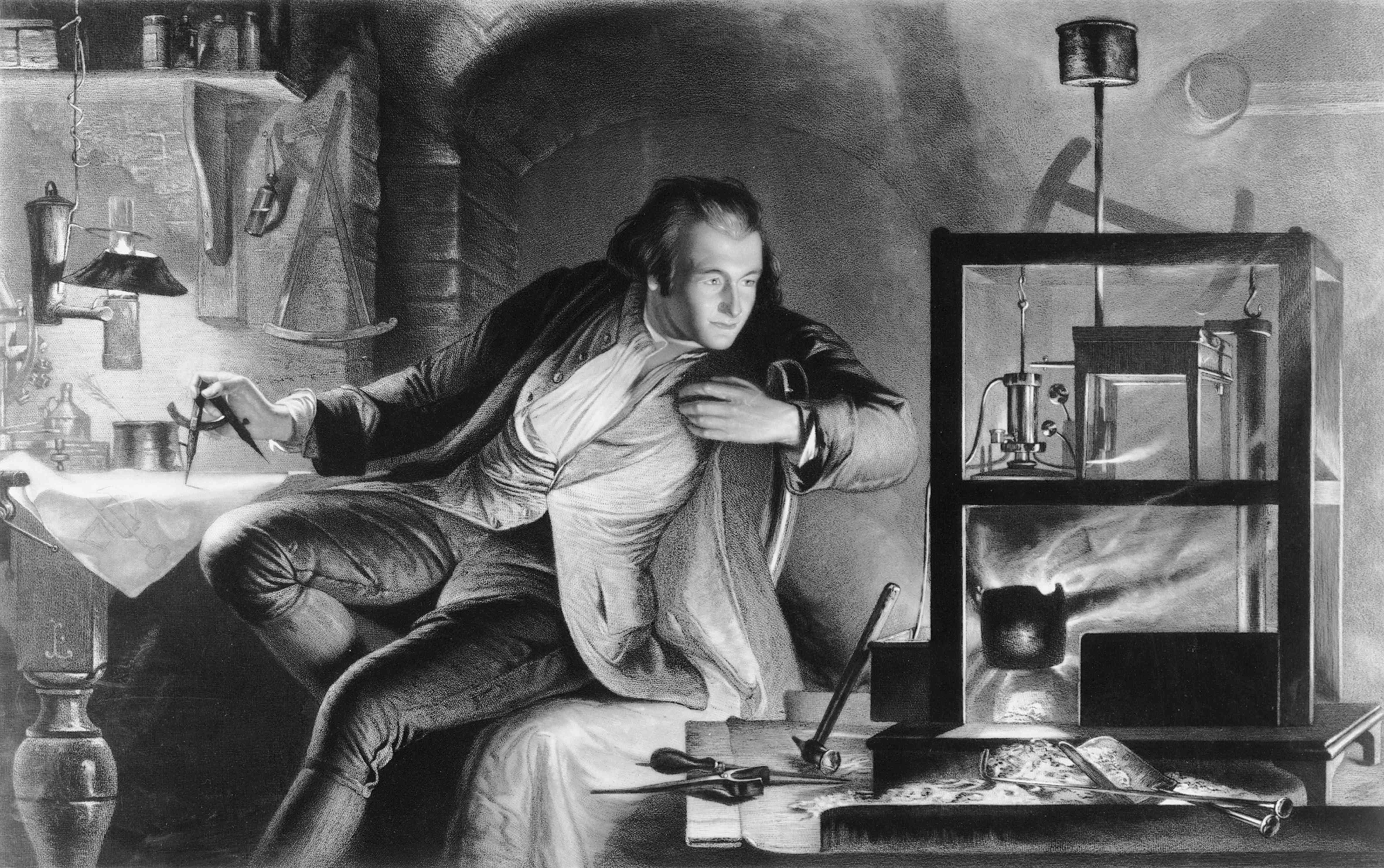 James Scott portrait of a young James Watt working on the design of his steam engine, c1769