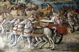 Rome's triumph over Sicily during the Punic Wars.