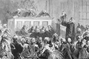 The trial of Peter Zenger in New York, 1734. The printer of the New York Weekly Journal was accused of libel. Defended by Andrew Hamilton, he was acquitted and this precedent established freedom of the press in the United States. Undated engraving.