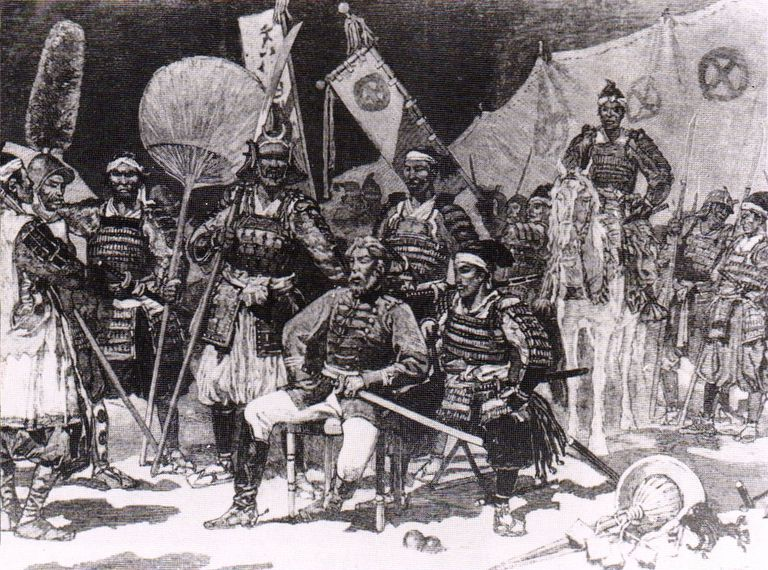 Pencil drawing of Saigo Takamori with officers during the Satsuma Rebellion.