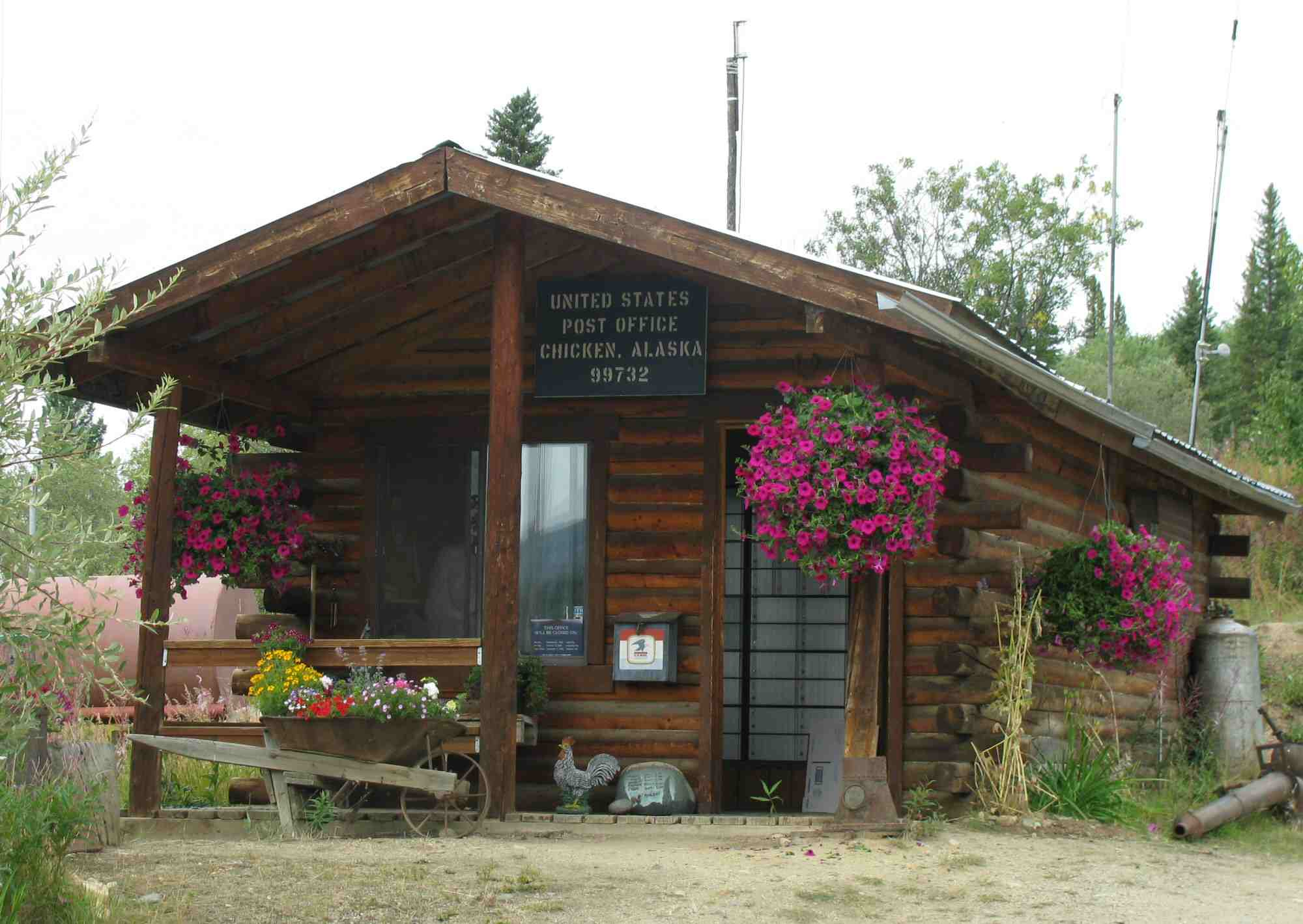 Photo of a log cabin style post office in Chicken, Alaska, 2009