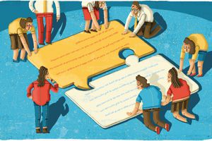 Business people connecting jigsaw puzzle piece speech bubbles
