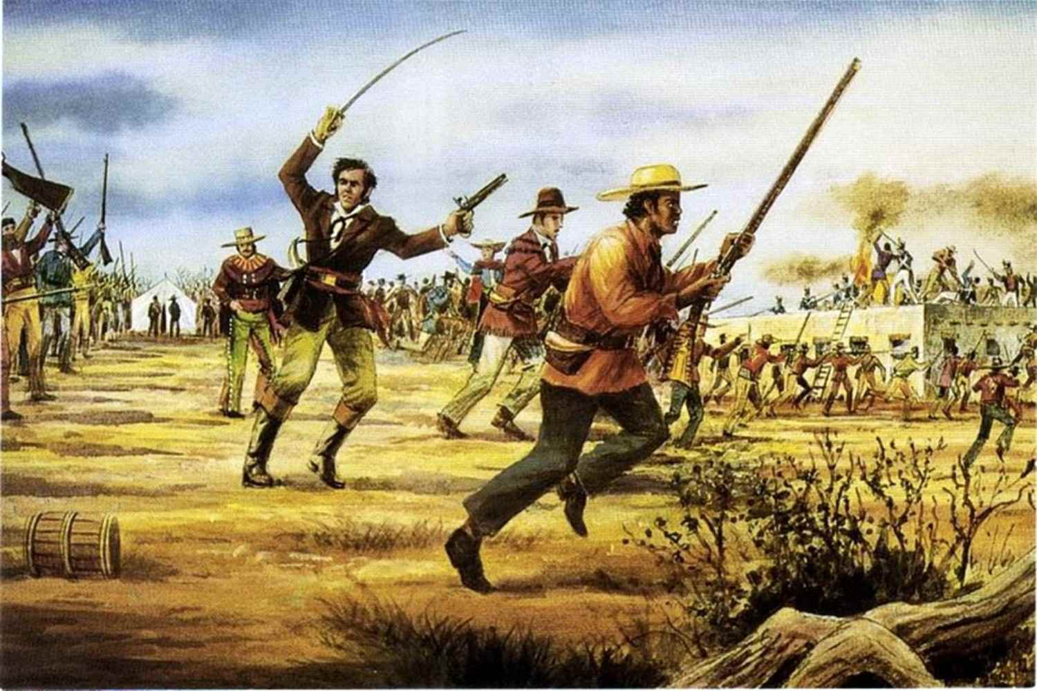 A mural depicting the Siege of San Antonio, with Hendrick Arnold in the foreground