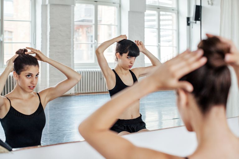 Ballerinas getting ready for dancing in studio