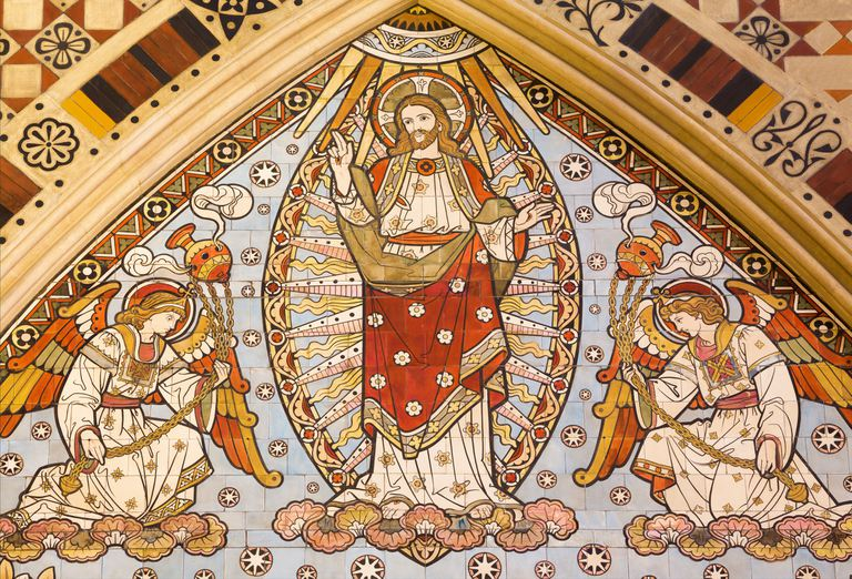 London - The detail of tiled mosaic of Ascension of the Lord in church All Saints