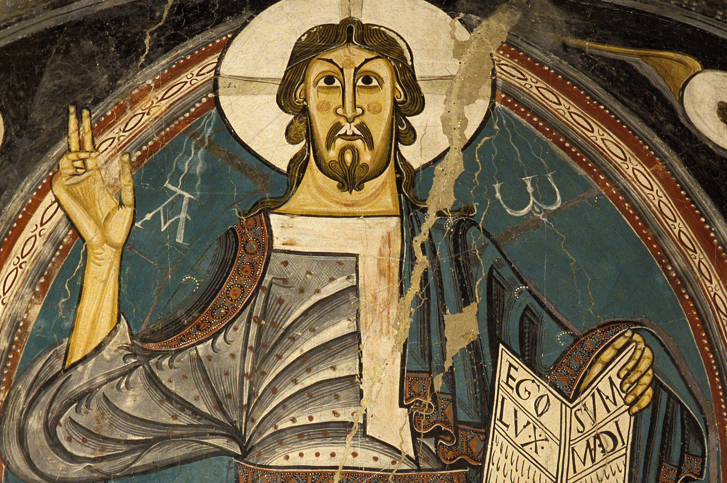 Romanesque Portrayal of Christ, Detail Painted on the Apse of San Clemente in Taüll, Catalonia, Spain
