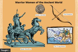 A sculpture of Queen Boudicca, a coin with the face of Queen Zenobia, a bow and arrow representing the Amazons, and a painting of the Trung Sisters