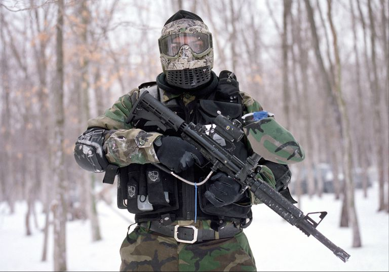 Paintball player in gear