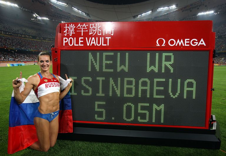 Yelena Isinbayeva set a women's pole vault world record at the 2008 Beijing Olympics.